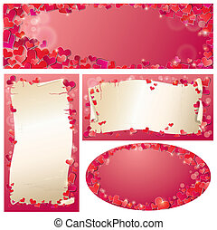 Set of Valentine`s Day horizontal, vertical, oval banners with Red hearts confetti and old paper scrolls.