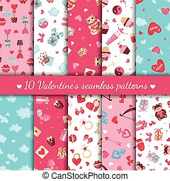 Set of Valentines day seamless patterns.