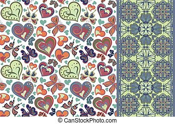 Set of valentines floral background with hearts, butterfly and seamless border, band ribbon strip. Retro pattern