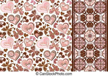 Set of valentines floral background with hearts, butterfly and seamless border, band ribbon strip. Retro pattern.