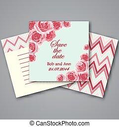 Set of valentines invitation cards