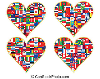 valentines made of flags icons - set of valentines made of ...