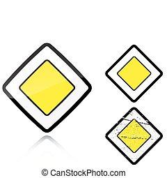 Set of variants a Main road - road sign