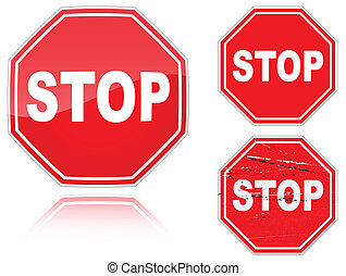 Set of variants a Stop road sign isolated on white...