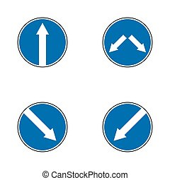 Set of variants arrow road sign isolated on white background. Vector illustration.