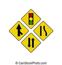 Set of variants Sharp traffic road sign isolated
