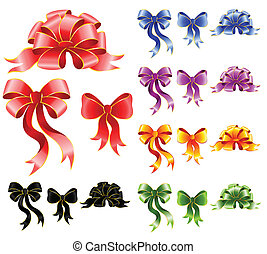 varicoloured festive bows - set of varicoloured festive bows...
