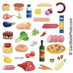set of varied food items on white background
