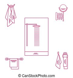 Set of variety bathroom elements: shower, towels hanging on different holders, mirror.