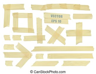 Set of various adhesive tape pieces. Realistic illustration...