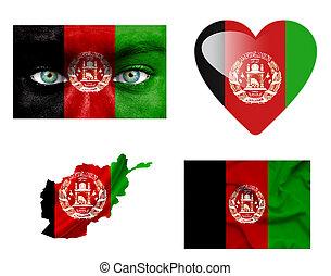 Set of various Afghanistan flags