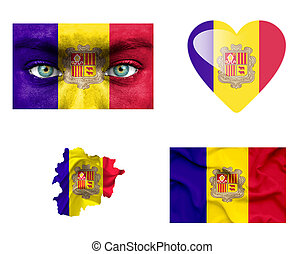 Set of various Andorra flags