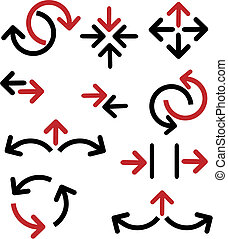 set of various arrows - 1 - set of various red and black ...