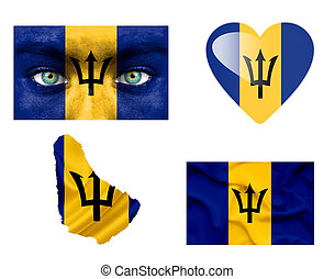 Set of various Barbados flags