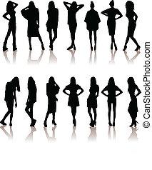 set of various beautiful model girl