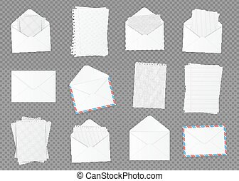 Set of various blank white paper