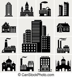 Set of various buildings and real estate icons