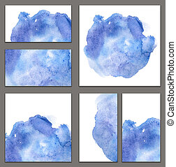 Set of various business cards, cutaways templates - abstract blue watercolor hand-painted background, brush texture