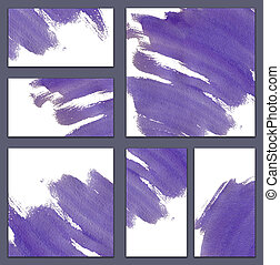 Set of various business cards, cutaways templates - abstract blue watercolor hand-painted background, violet ink stroke
