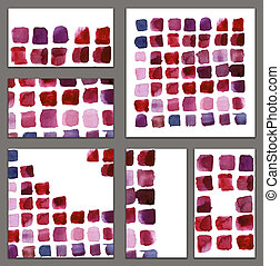 Set of various business cards, cutaways templates - abstract watercolor of bright red, pink and lilac strokes