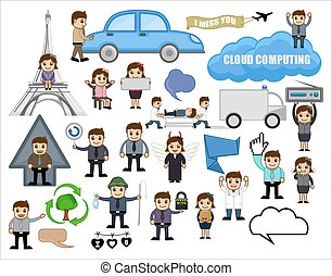 Set of Various Business Cartoon Concepts