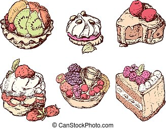 Set of various cakes with fruit