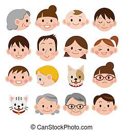 Set of various cartoon faces