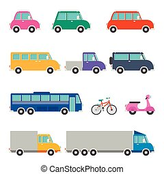 Set Of Various Cartoon Vehicles