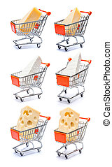 Set of Various cheese in shopping cart on a white