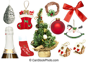 Set of various Christmas ornaments and objects