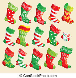 Set of various Christmas stockings. Elements for X-mas and New Year design.