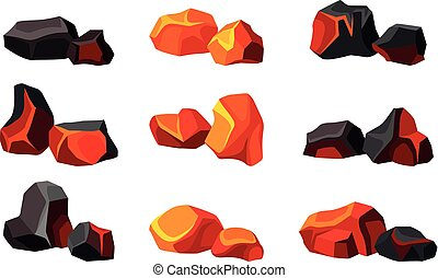 Set of various hot and cold coals. Vector illustration on white background.