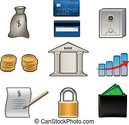 Set of various colorful bank vector