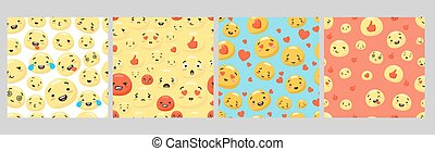 Set of various colorful smiley face with different expression seamless pattern