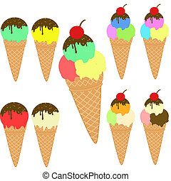 Set of various cone ice creams