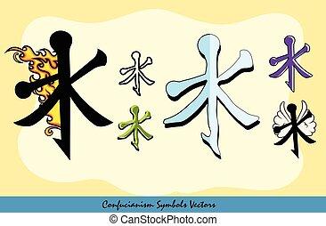 Set of Various Confucianism Symbols Vector Illustration