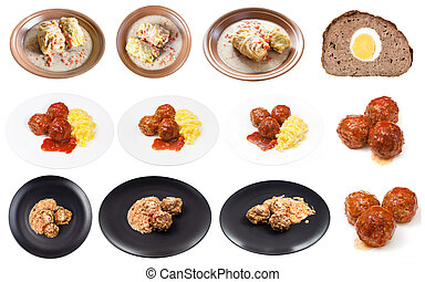 set of various cooked meatballs isolated