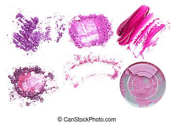set of various crushed eyeshadows and powder