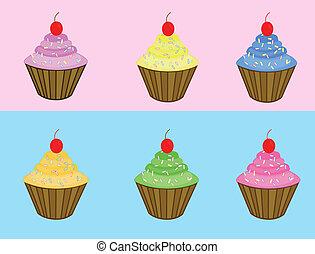 Set of various cupcakes