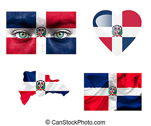 Set of various Dominican Republic flags