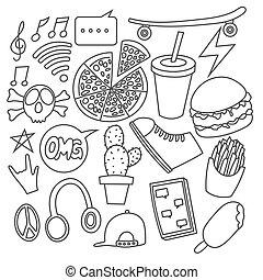 Set of various doodle