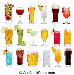 Set of various drinks, cocktails and beer isolated on white background