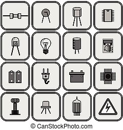 set of sixteen different electrical parts in shades of gray on a gray background