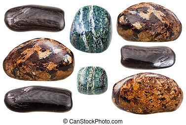set of various Enstatite natural mineral gemstones