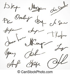 Set of various fictional signatures