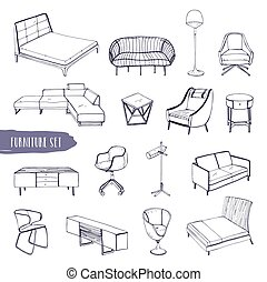 Set of various furniture. Hand drawn different types sofas, chairs and armchairs, bedside tables, beds, tables, lamps collection. Black and white vector sketch illustration.