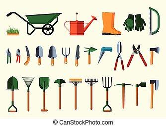 Set of various gardening items.