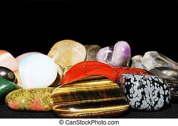 Set of various gemstones