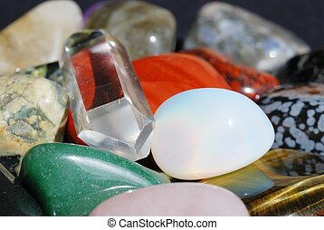 Set of semiprecious gemstones used in alternative medicine for healing and in esoterics