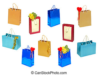 Set of various gift bag.Isolated.